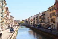 Canal Naviglio Grande in Milan Royalty Free Stock Photos