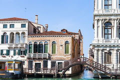 Canal near waterbus stop in Venice city Stock Image