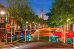 Canal and Nieuwe Kerk church, Delft, Netherlands Stock Photos
