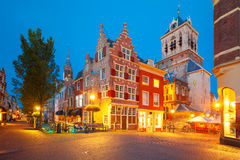 Canal and Nieuwe Kerk church, Delft, Netherlands Royalty Free Stock Photo