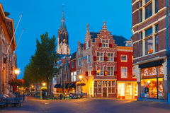 Canal and Nieuwe Kerk church, Delft, Netherlands Royalty Free Stock Image
