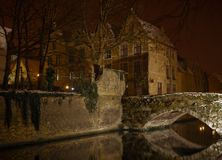 Canal by night, Bruges. Royalty Free Stock Photos