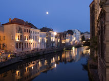 Canal At Night in Ghent, Belgium Stock Photos
