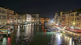 Canal night scene in Venice Italy. Canal night scene from bridge of Rialto in Venice Italy stock images