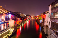 Canal night scene in Wuxi Royalty Free Stock Image