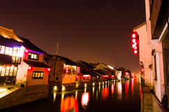 Canal night scene in Wuxi Royalty Free Stock Photos