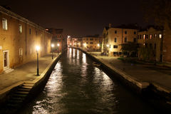 Canal at night in Venice Royalty Free Stock Photos