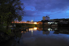 Canal at night. View of the old communities along the canal Chanthaburi at night Royalty Free Stock Photo