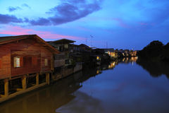 Canal at night. View of the old communities along the canal Chanthaburi at night Royalty Free Stock Photography
