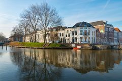 Canal Stadsbuitengracht of Utrecht. Canal Stadsbuitengracht and River Vecht on the north side of the center of Utrecht, the Netherlands royalty free stock images