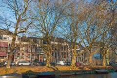 Canal Stadsbuitengracht of Utrecht. Canal Stadsbuitengracht with trees on the north side of the center of Utrecht, the Netherlands stock image
