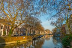 Canal Stadsbuitengracht of Utrecht. Canal Stadsbuitengracht with trees on the north side of the center of Utrecht, the Netherlands royalty free stock image
