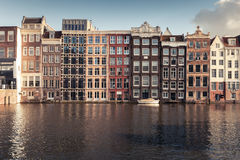 Canal of old Amsterdam, Netherlands royalty free stock photography