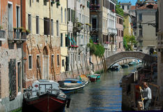 Canal, Old Buildings and Bridge, Venice, Italy Royalty Free Stock Photo