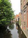 Canal and old buildings, Brugge Royalty Free Stock Images