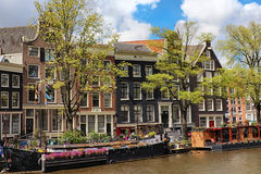 Canal in the old city of Amsterdam, Netherlands Royalty Free Stock Photos