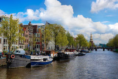 Canal in the old city of Amsterdam, Netherlands Royalty Free Stock Photography