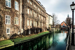 Canal and old historic buildings  Gdansk Royalty Free Stock Images