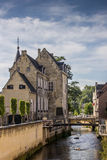 Canal and old house in the center of Valkenburg Stock Photos