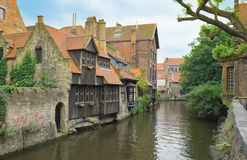 The canal of the old part in Bruges Stock Image