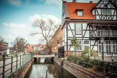 Canal in the old town of Gdansk, Poland Stock Photos