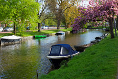 Canal in old town of Haarlem, Holland Stock Images