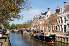 Canal in old town of Harlingen, Netherlands Royalty Free Stock Photos