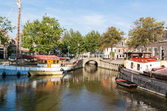 Canal in old town of Harlingen, Netherlands Stock Photography
