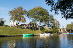 Canal in old town of Harlingen, Netherlands Stock Photo