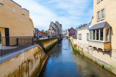 Canal in the old town of Valkenburg, Netherlands Stock Photo
