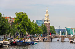 Canal Oudeschans in Amsterdam, Netherlands Royalty Free Stock Photo