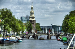 Canal Oudeschans in Amsterdam, Netherlands Royalty Free Stock Photos