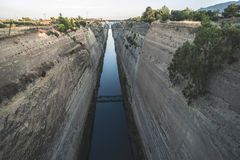 Canal for the passage of vessels in Corinth Royalty Free Stock Photos