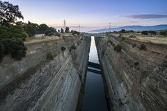 Canal for the passage of vessels in Corinth Stock Photos