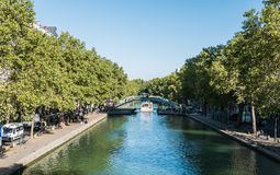 Canal passenger boat on the Canal Saint Martin, Paris Royalty Free Stock Photos