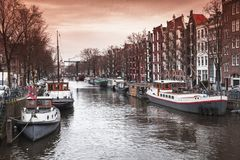Canal perspective, Amsterdam street view royalty free stock photography