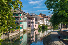 Canal in Petite France area, Strasbourg Royalty Free Stock Photos