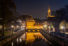 Canal in Petite France area, Strasbourg. Alsace - France Royalty Free Stock Image