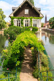 Canal in Petite France area, Strasbourg, France Royalty Free Stock Photos