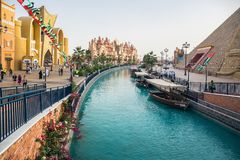 Canal with pleasure boats in the park entertainment center Globa. DUBAI, UAE - DECEMBER 4, 2017: Canal with pleasure boats in the park entertainment center Royalty Free Stock Photo