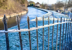 Canal Railings In WInter Stock Photography