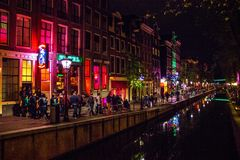 Canal at red light district Stock Photography