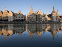 Canal Reflection of Landmark in Ghent, Belgium Stock Image