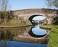 Canal Reflections. Peaceful morning along Shropshire Union Canal Staffordshire England UK stock photo