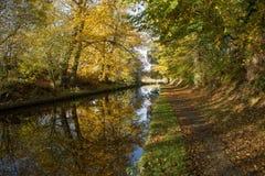 Canal Reflections. Ellesmere Llangollen Canal in Ellesmere Shropshire, UK stock photo