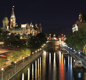 Canal Rideau and Parliament of Canada at night. Ottawa Stock Photo