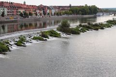 Canal and river in city. Würzburg, Bavaria, Germany Royalty Free Stock Image