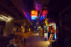 Canal road of Wanchai by night in Hong Kong Royalty Free Stock Photography
