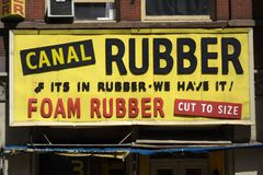 Canal Rubber Store Old Sign Royalty Free Stock Photos