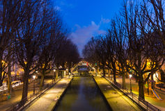 Canal Saint Martin at Night Royalty Free Stock Photos